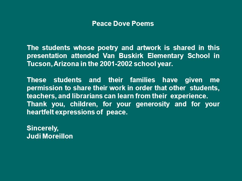 Peace Dove Poems