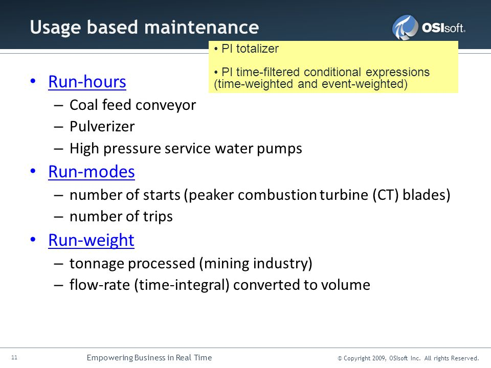Usage based maintenance