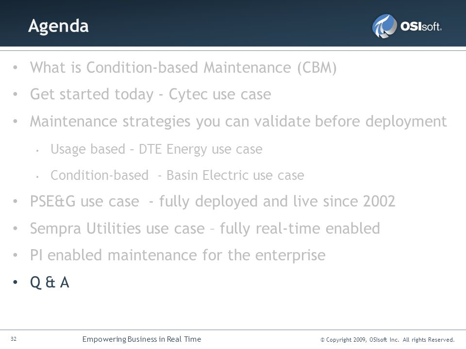 Agenda What is Condition-based Maintenance (CBM)