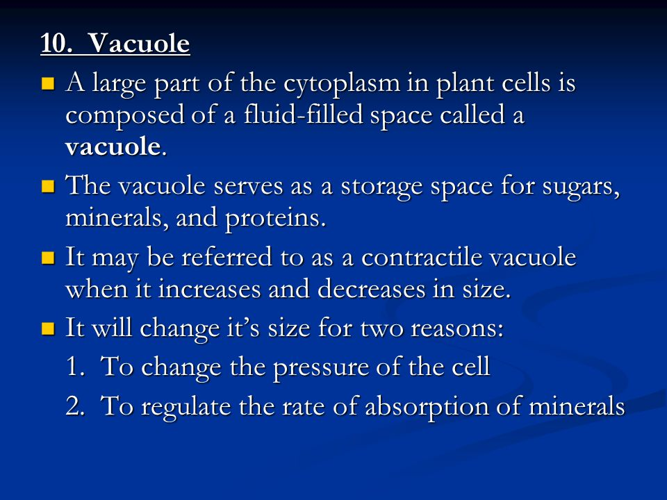 10. Vacuole A large part of the cytoplasm in plant cells is composed of a fluid-filled space called a vacuole.