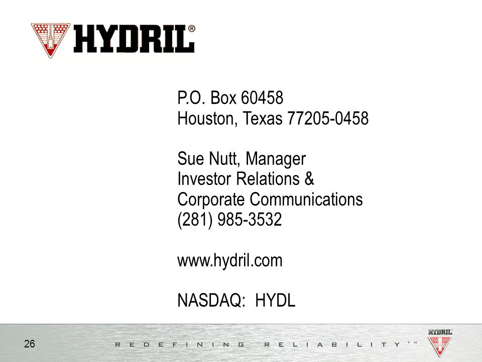P.O. Box 60458 Houston, Texas 77205-0458. Sue Nutt, Manager. Investor Relations & Corporate Communications.