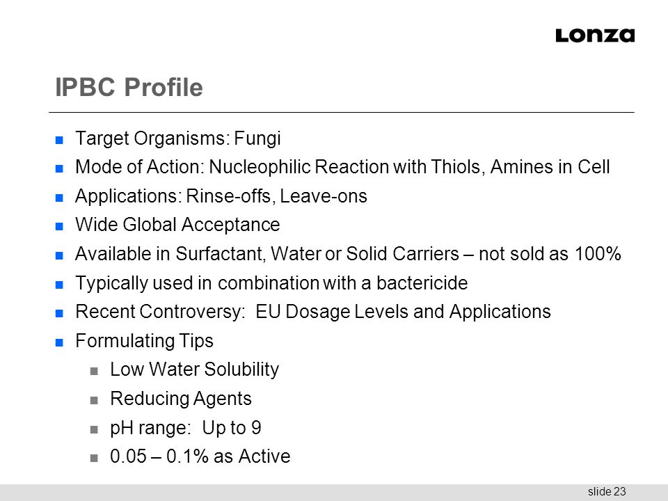 IPBC Profile Target Organisms: Fungi