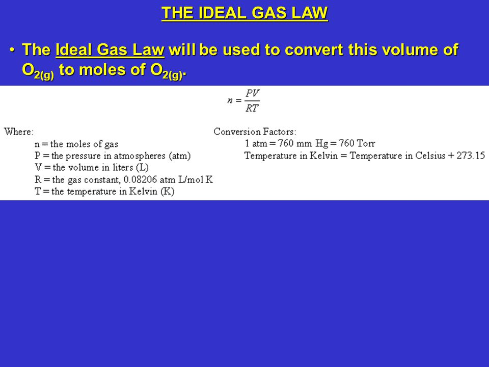 THE IDEAL GAS LAW The Ideal Gas Law will be used to convert this volume of O2(g) to moles of O2(g).