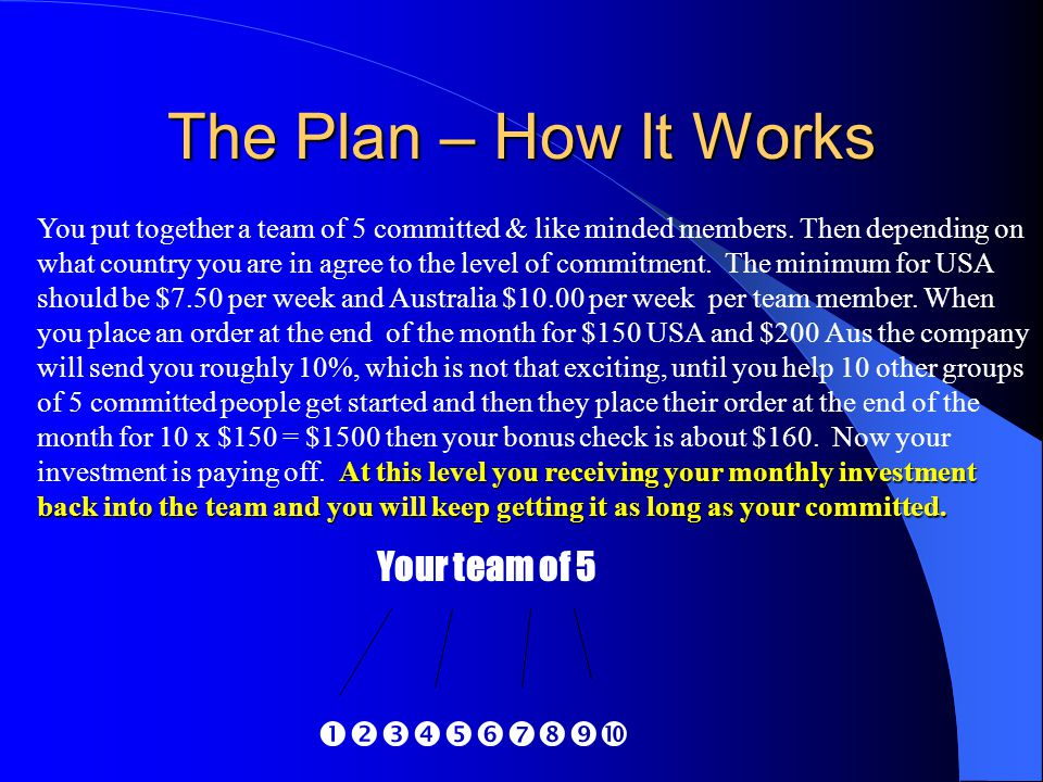 The Plan – How It Works Your team of 5 
