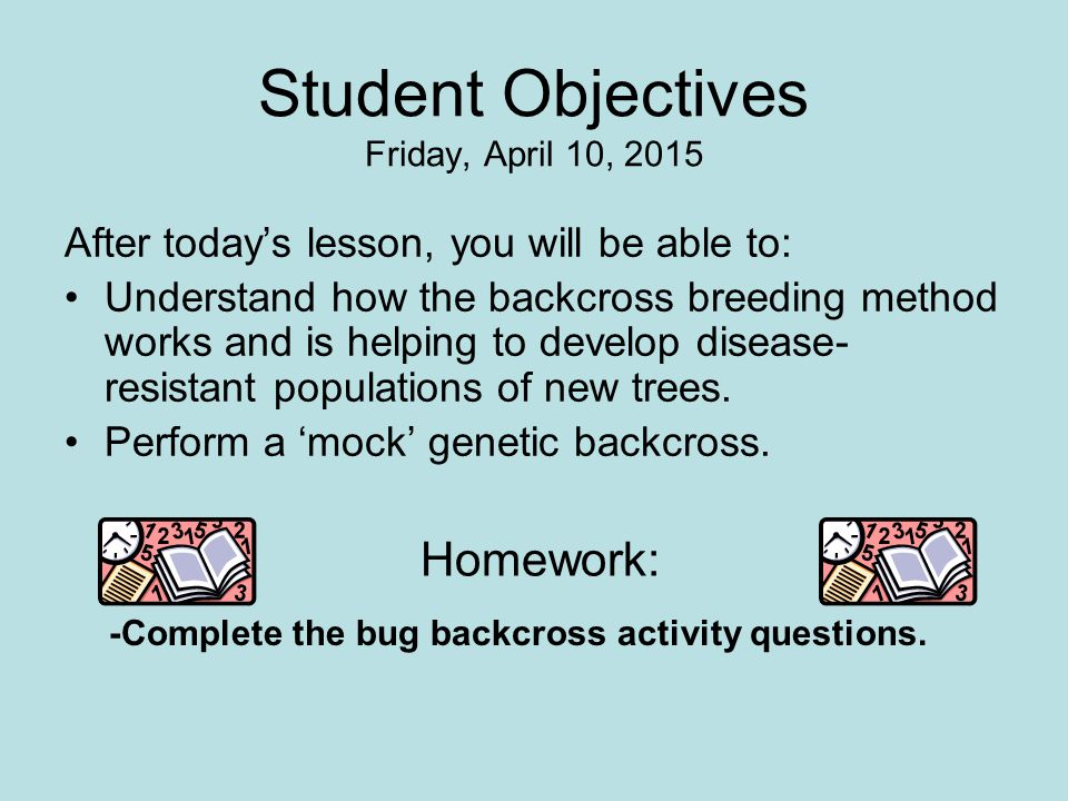 Student Objectives Monday, April 10, 2017