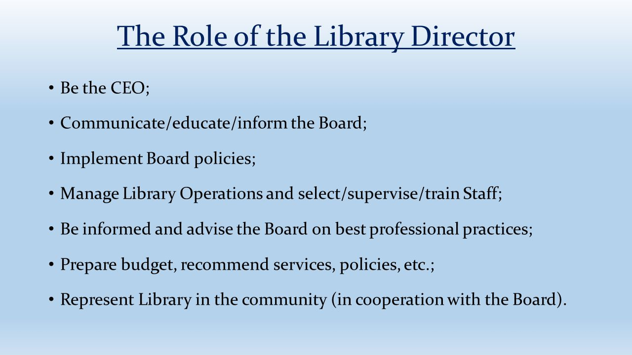 The Role of the Library Director