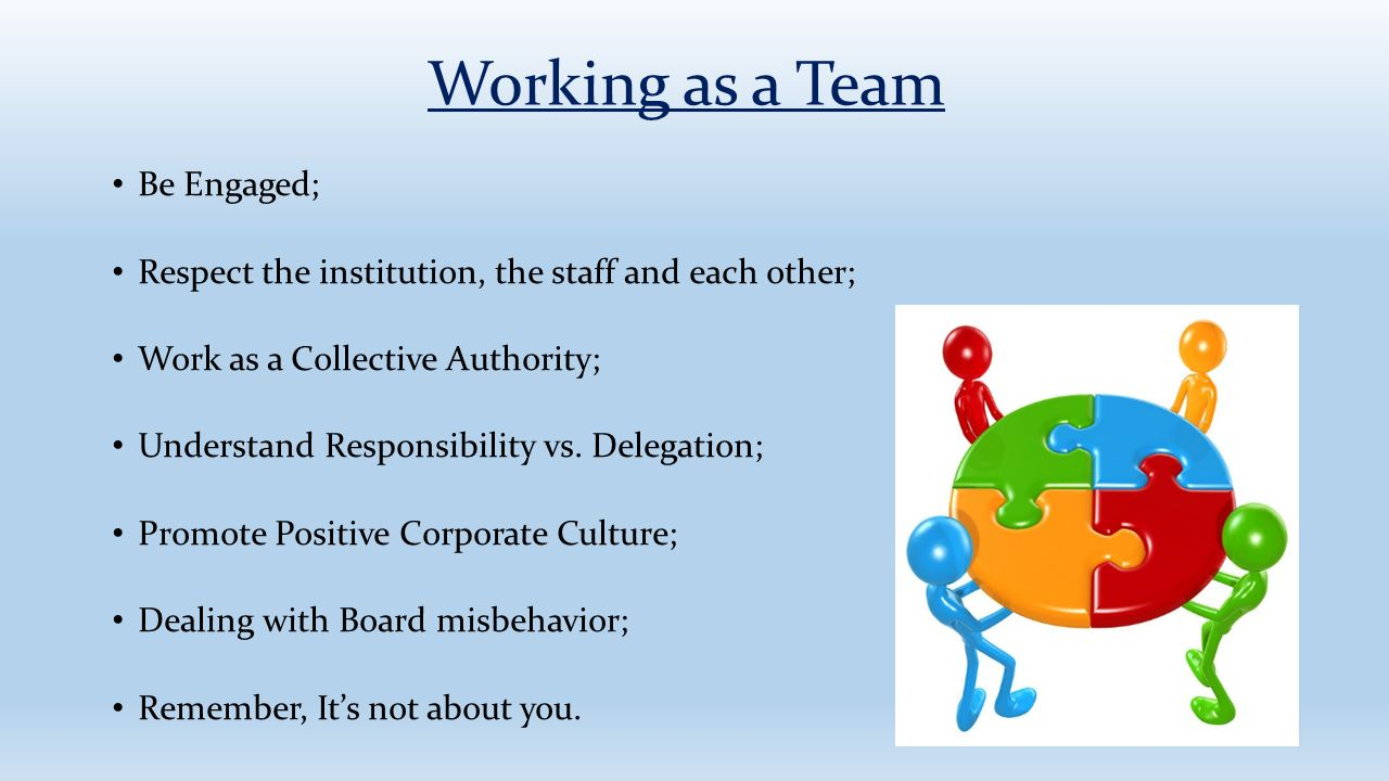 Working as a Team Be Engaged;