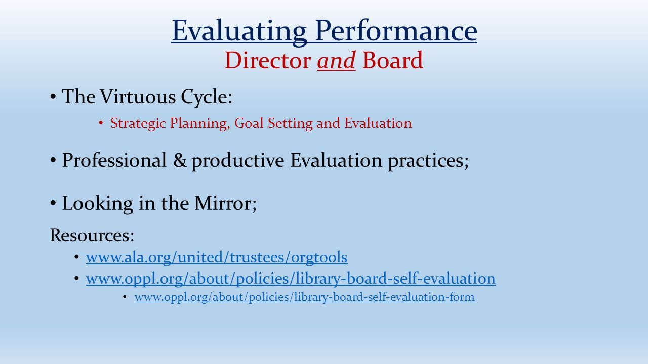Evaluating Performance Director and Board