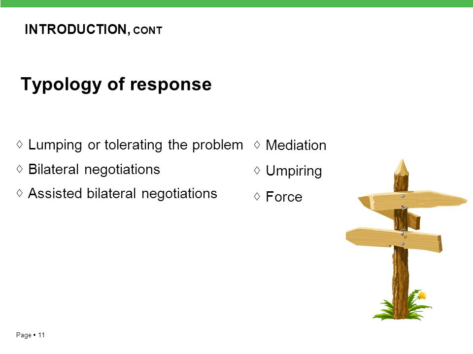 INTRODUCTION, cont Typology of response. ◊ Lumping or tolerating the problem ◊ Bilateral negotiations ◊ Assisted bilateral negotiations