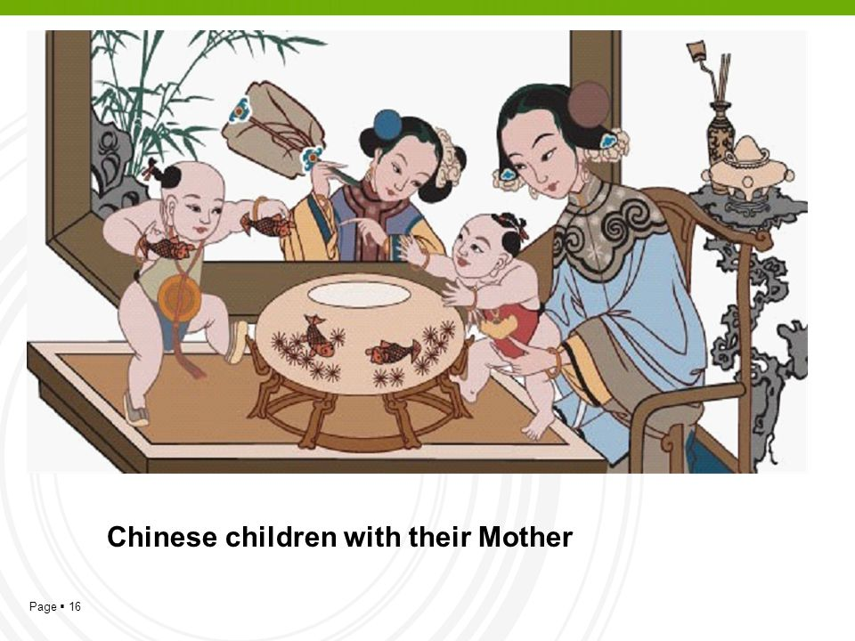 Chinese children with their Mother