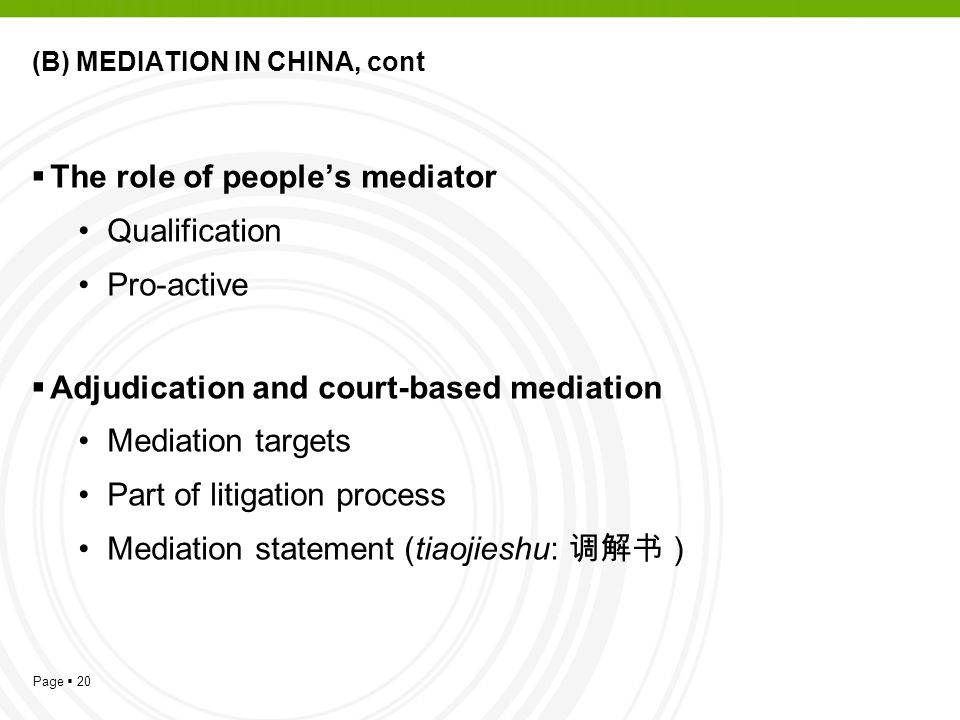 (B) MEDIATION IN CHINA, cont