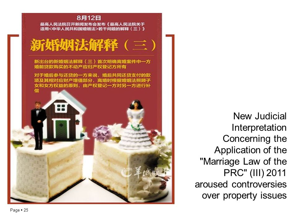 New Judicial Interpretation Concerning the Application of the Marriage Law of the PRC (III) 2011 aroused controversies over property issues