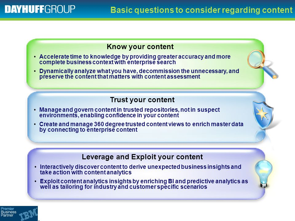 Basic questions to consider regarding content
