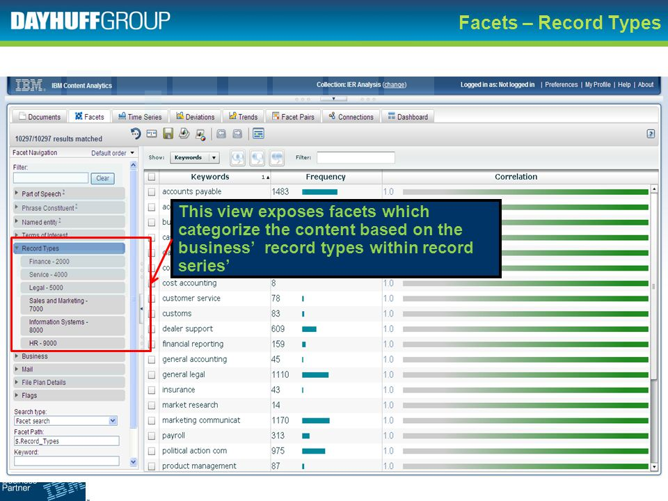 Facets – Record Types This view exposes facets which categorize the content based on the business' record types within record series'