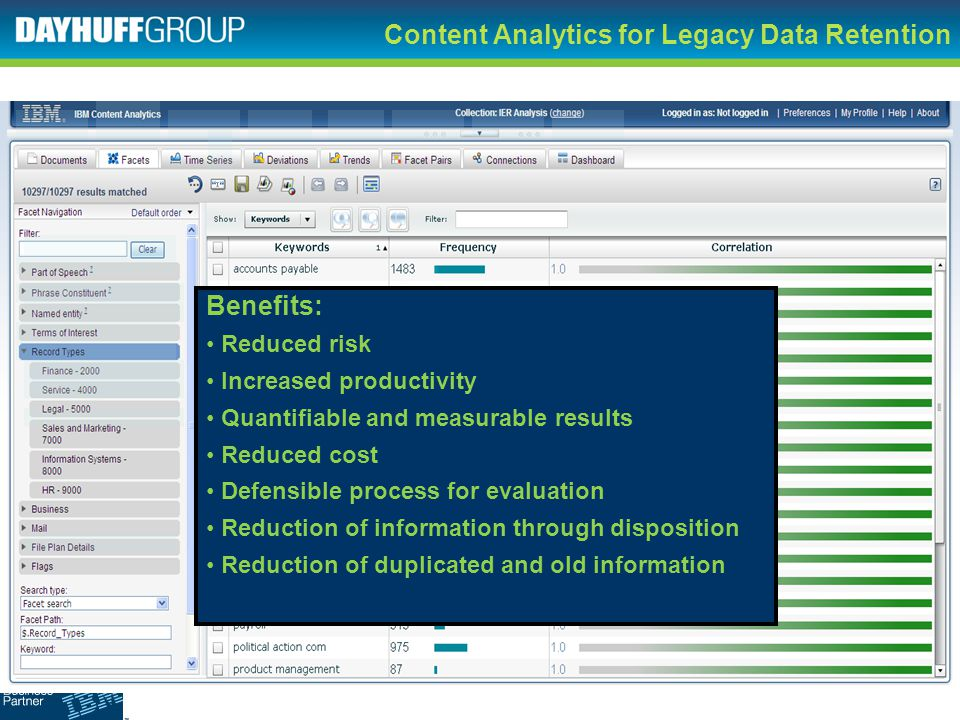 Content Analytics for Legacy Data Retention