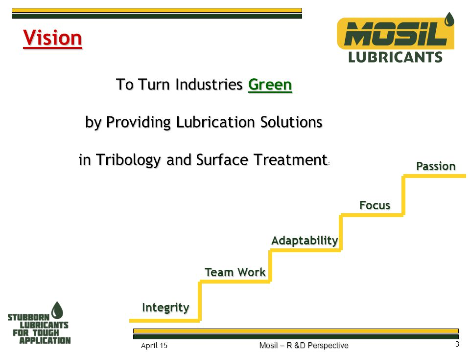 Vision To Turn Industries Green by Providing Lubrication Solutions