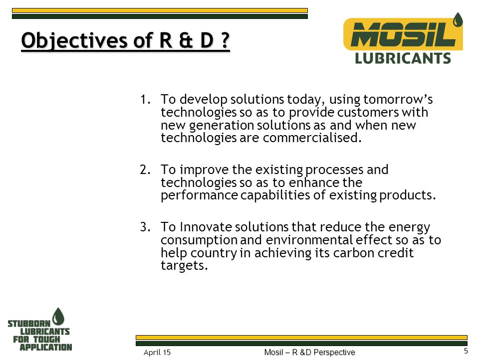 Objectives of R & D