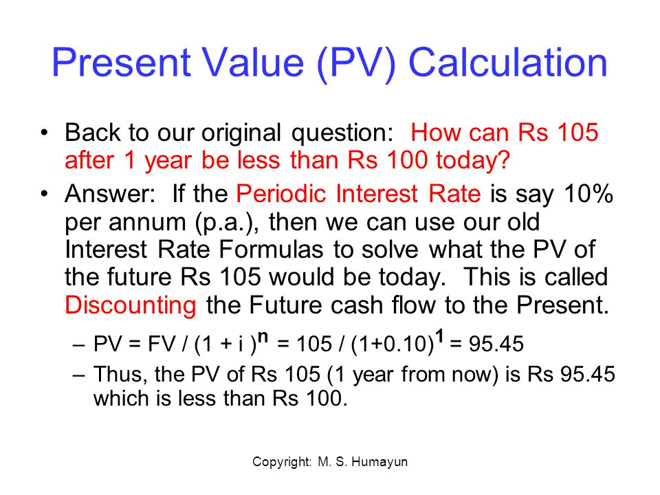 Present Value (PV) Calculation