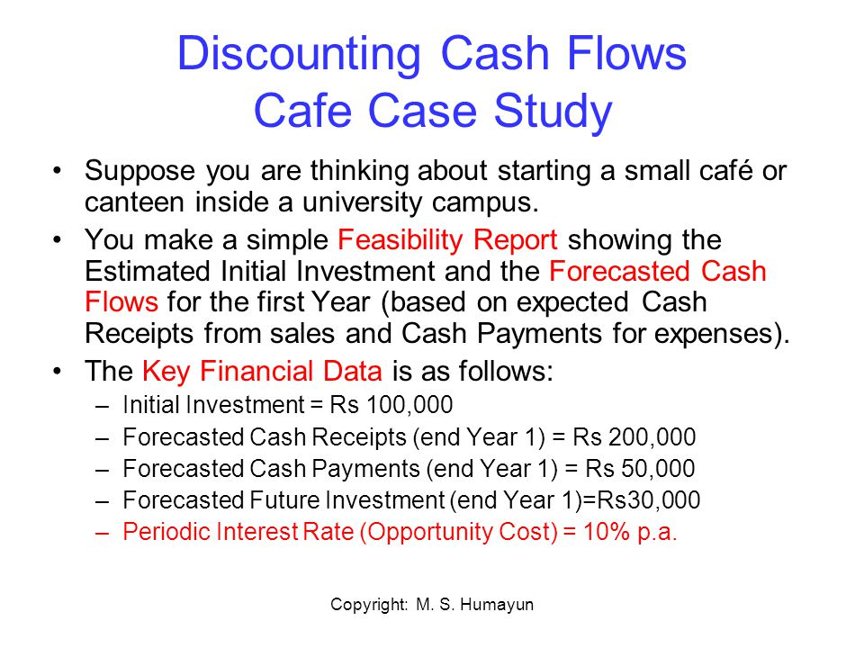 Discounting Cash Flows Cafe Case Study