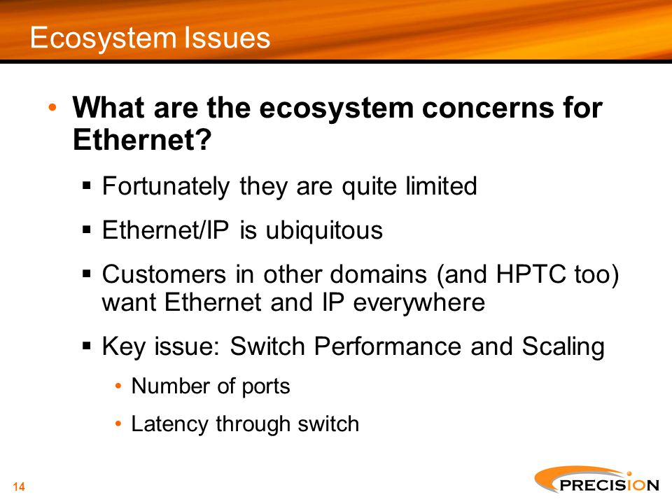 What are the ecosystem concerns for Ethernet