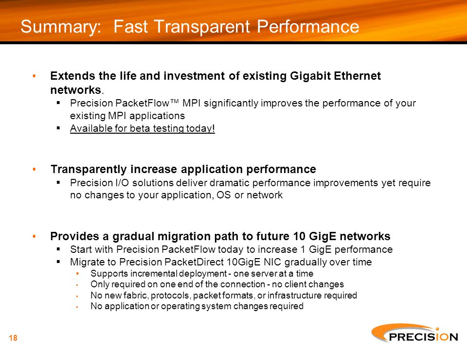 Summary: Fast Transparent Performance