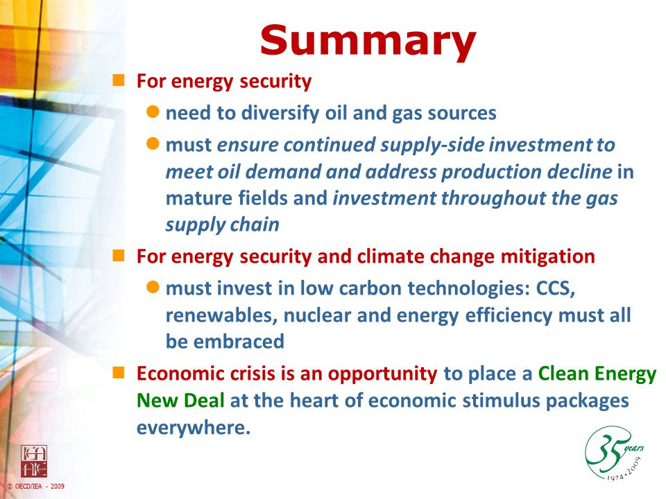 Summary For energy security need to diversify oil and gas sources