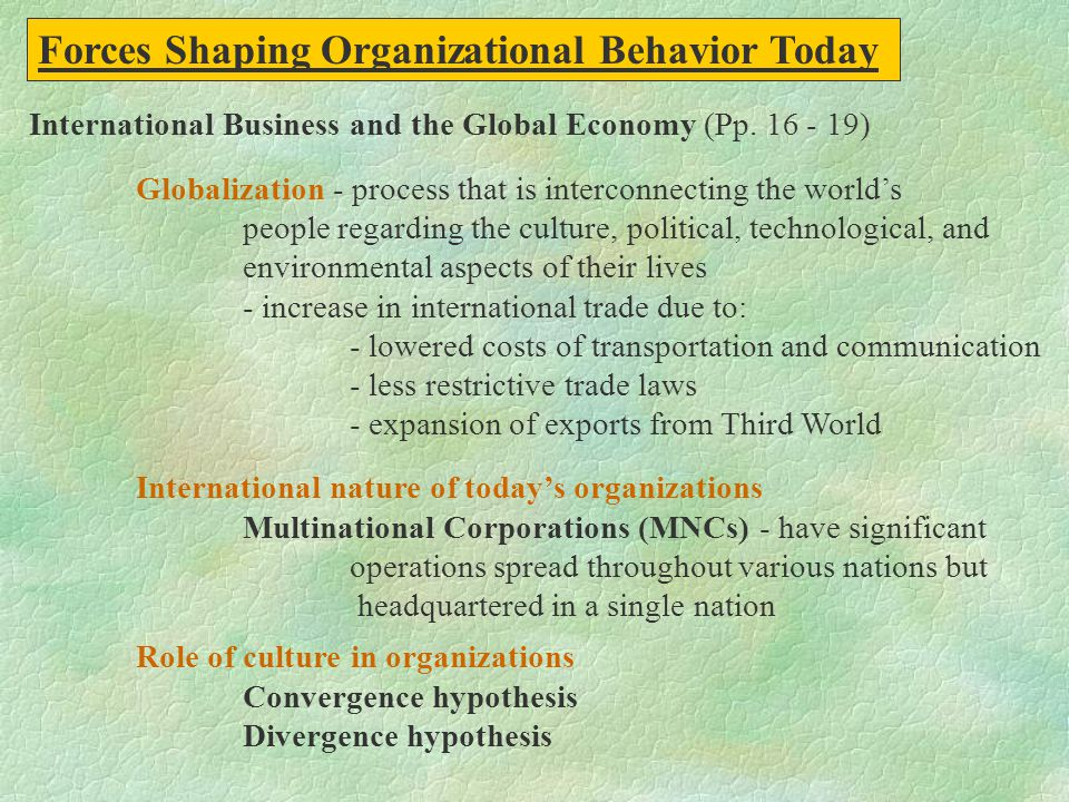 Forces Shaping Organizational Behavior Today