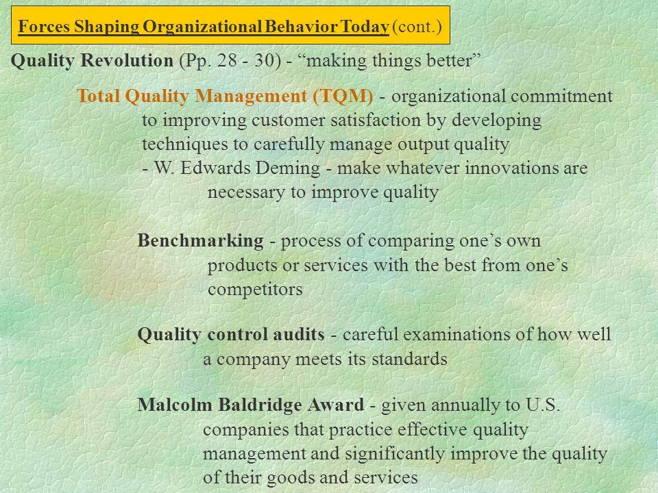 Quality Revolution (Pp. 28 - 30) - making things better