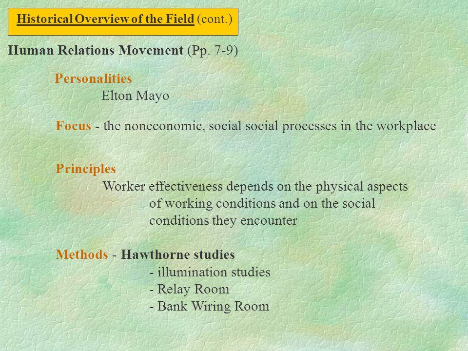 Human Relations Movement (Pp. 7-9) Personalities Elton Mayo