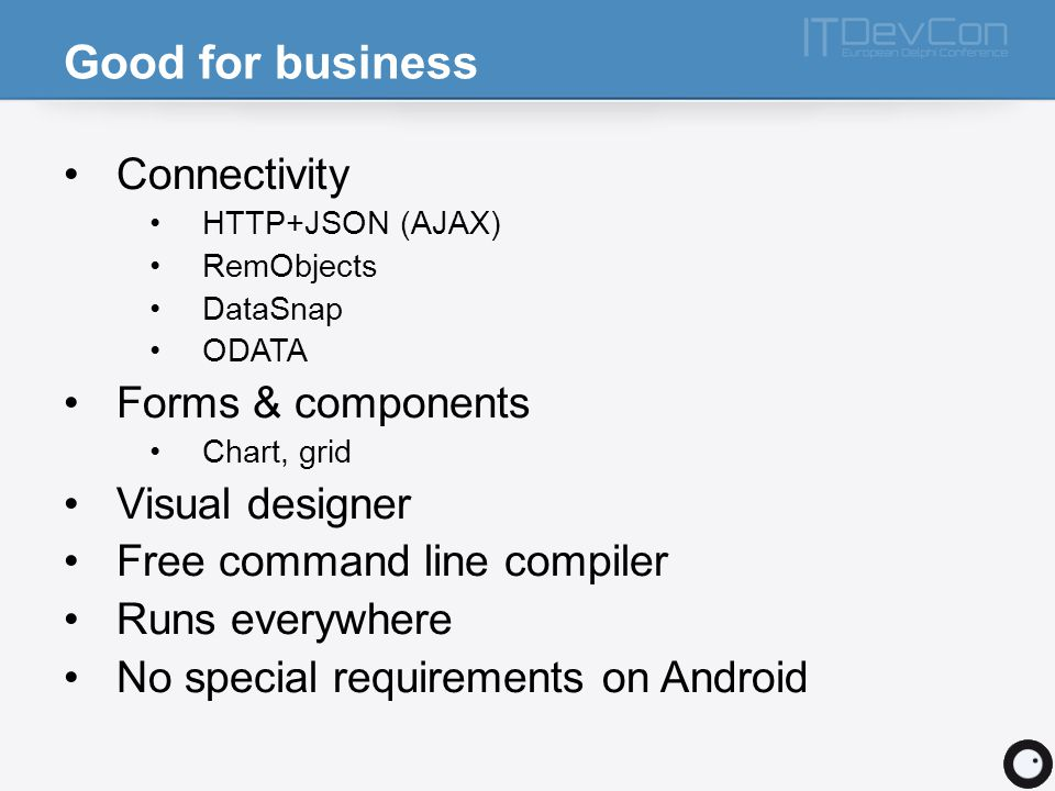 Good for business Connectivity Forms & components Visual designer