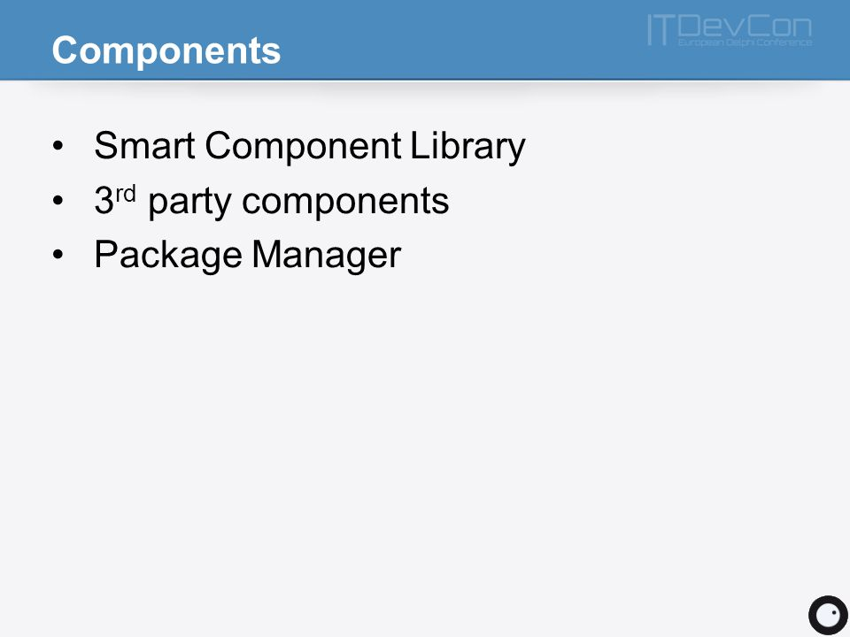 Components Smart Component Library 3rd party components Package Manager