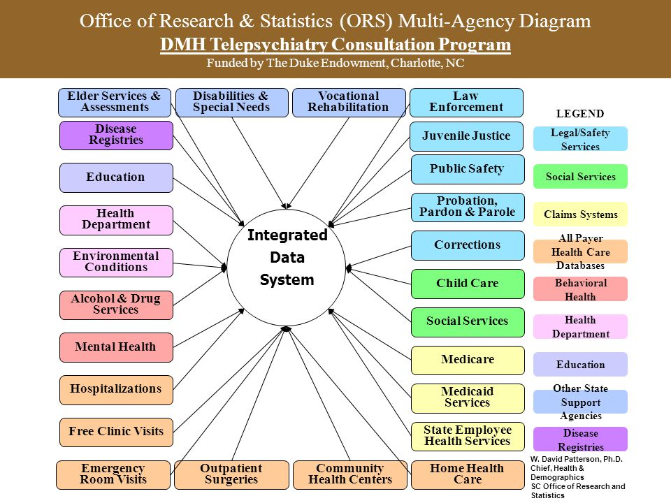 Office of Research & Statistics (ORS) Multi-Agency Diagram DMH Telepsychiatry Consultation Program Funded by The Duke Endowment, Charlotte, NC