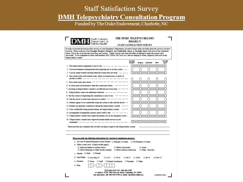 Staff Satisfaction Survey DMH Telepsychiatry Consultation Program Funded by The Duke Endowment, Charlotte, NC