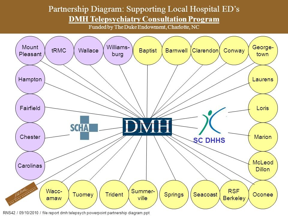 Partnership Diagram: Supporting Local Hospital ED's DMH Telepsychiatry Consultation Program Funded by The Duke Endowment, Charlotte, NC
