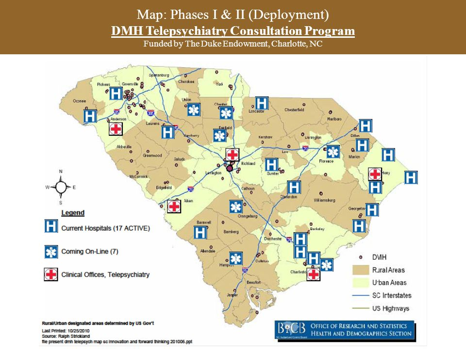 Map: Phases I & II (Deployment) DMH Telepsychiatry Consultation Program Funded by The Duke Endowment, Charlotte, NC