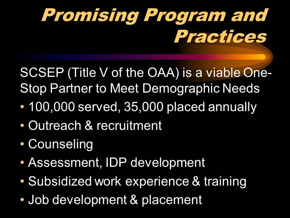 Promising Program and Practices