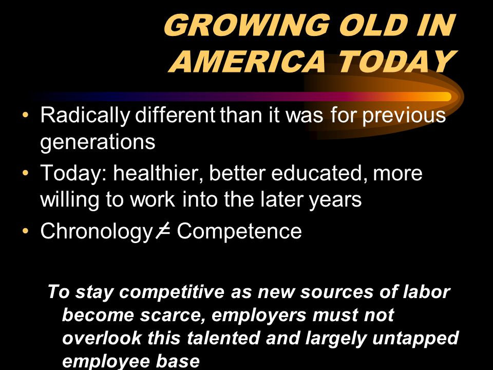 GROWING OLD IN AMERICA TODAY