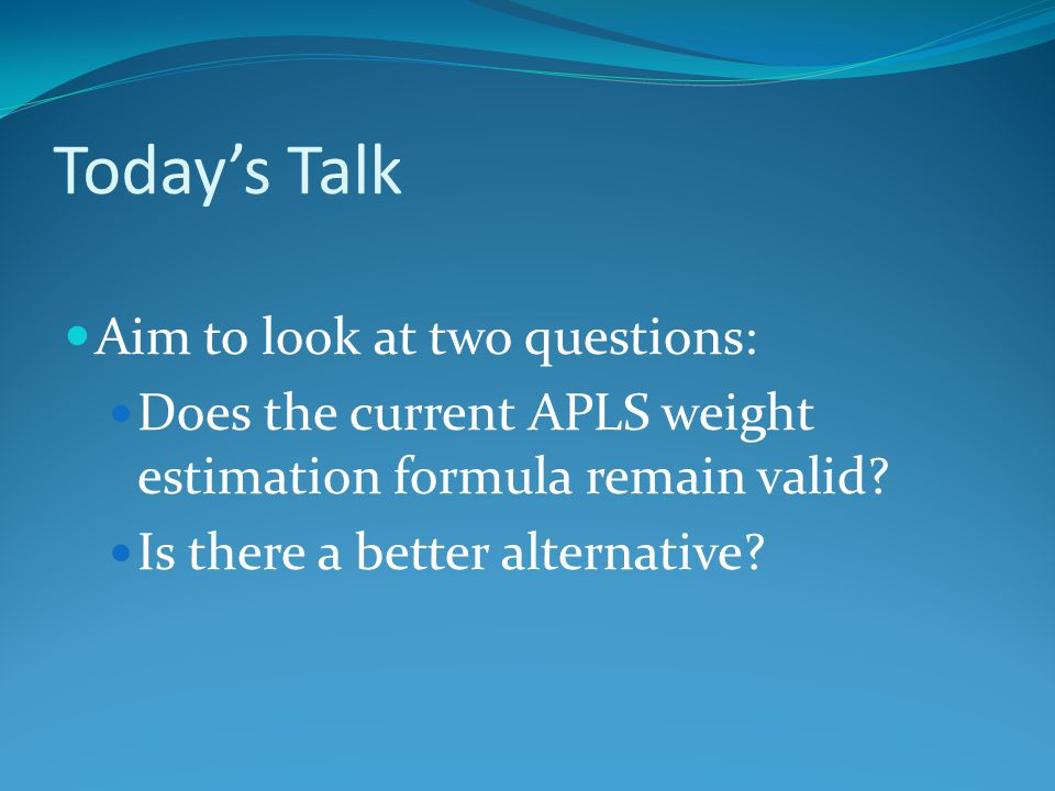 Today's Talk Aim to look at two questions: