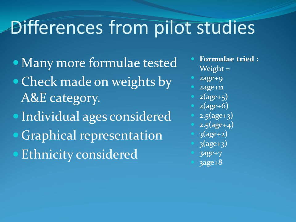 Differences from pilot studies