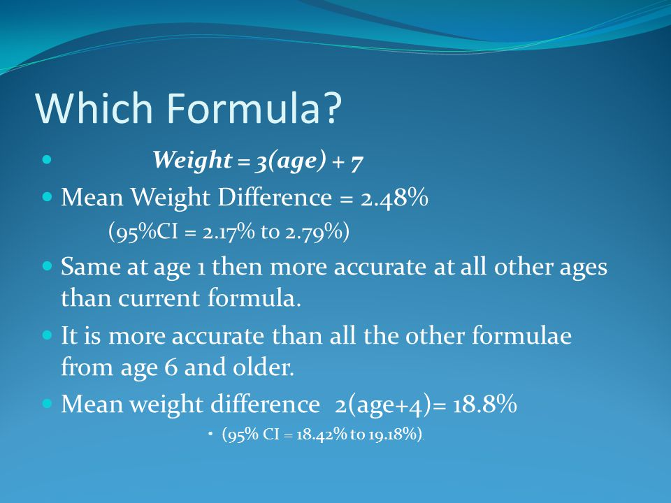 Which Formula Mean Weight Difference = 2.48%