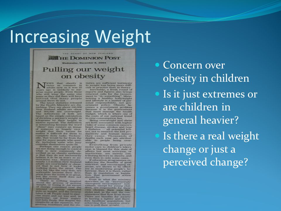 Increasing Weight Concern over obesity in children