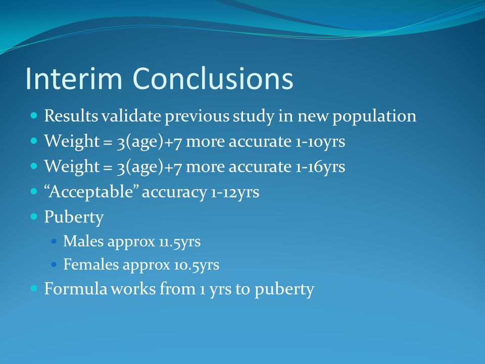 Interim Conclusions Results validate previous study in new population