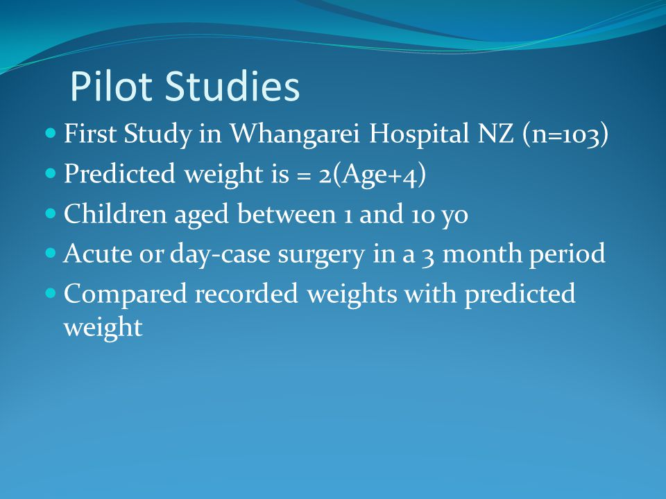 Pilot Studies First Study in Whangarei Hospital NZ (n=103)