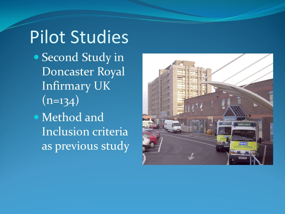 Pilot Studies Second Study in Doncaster Royal Infirmary UK (n=134)
