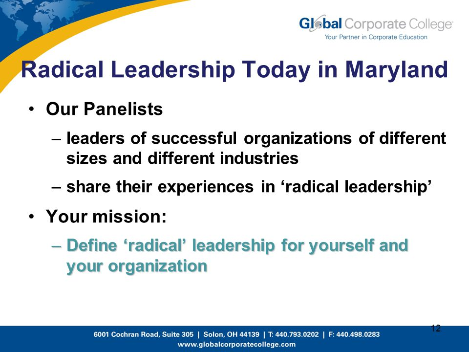 Radical Leadership Today in Maryland
