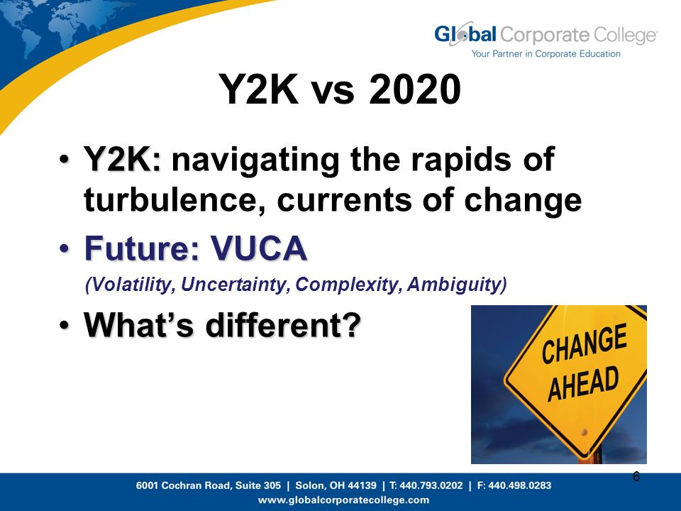 Y2K vs 2020 Y2K: navigating the rapids of turbulence, currents of change. Future: VUCA. (Volatility, Uncertainty, Complexity, Ambiguity)