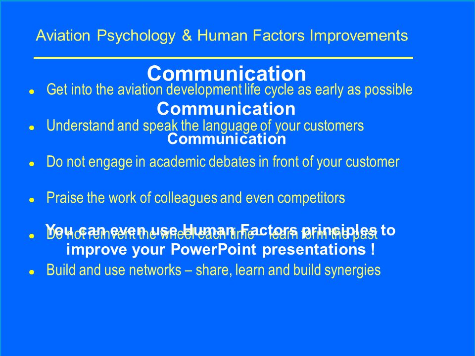 Aviation Psychology & Human Factors Improvements