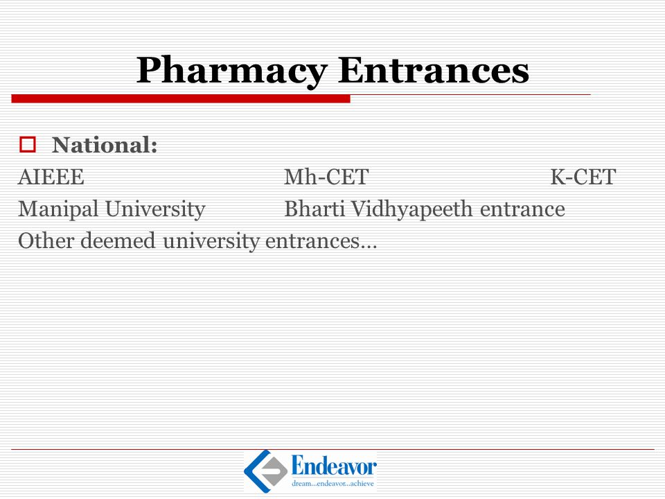 Pharmacy Entrances National: AIEEE Mh-CET K-CET