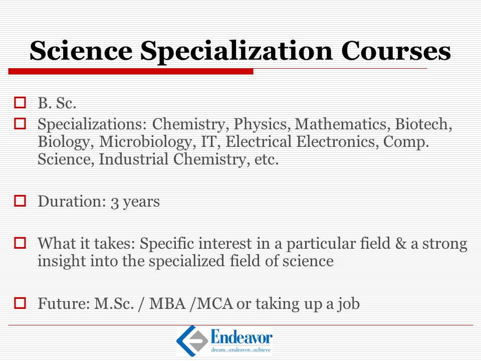 Science Specialization Courses