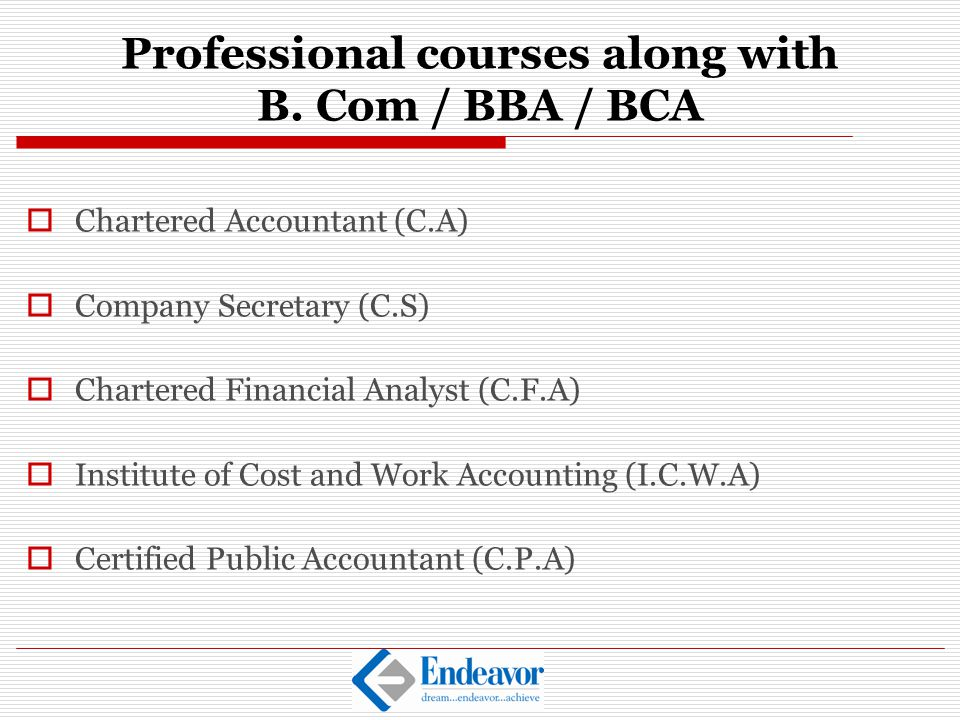 Professional courses along with B. Com / BBA / BCA